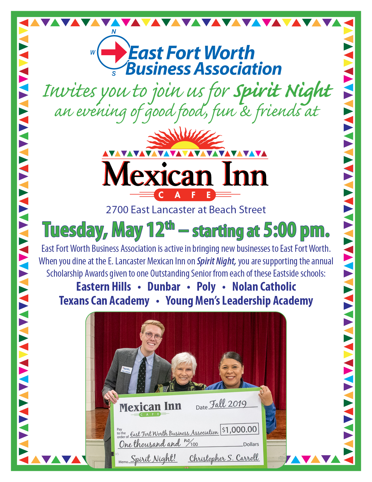 Spirit night at Mexican Inn is May 12, 2020